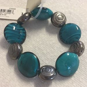 Erica Lyons Teal and Grey Glass Beaded Bracelet